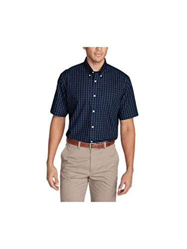 (Eddie Bauer Men's Wrinkle-Free Relaxed Fit Short-Sleeve Pinpoint Oxford Shirt -)
