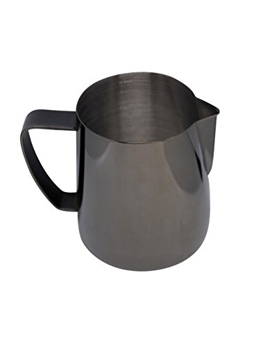 Latte Art | Stainless Steel Milk Frothing Pitcher Gunmetal Gray 12 oz Titanium Mirror Finish by Barista Swag