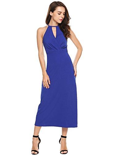 ANGVNS Womens Vintage Sleeveless Cold Shoulder Halter Neck Keyhole Waisted Split Prom Grown Maxi Dress(Blue,XXL)