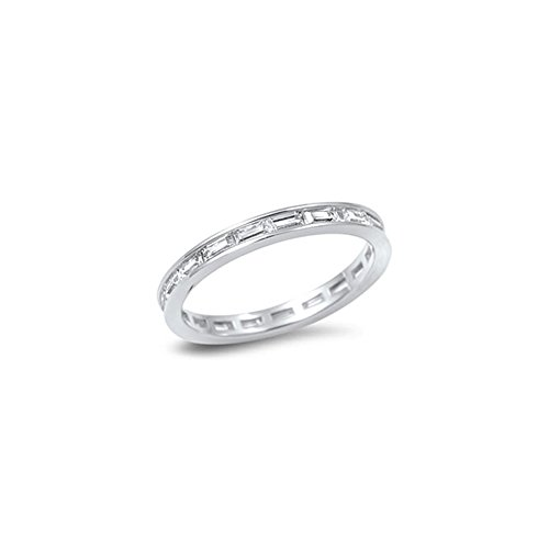 Noureda Sterling Silver Fancy Eternity Band Ring Set with Straight Baguette Clear Czs on Channel Setting, Band Width of (Channel Set Czs Ring)