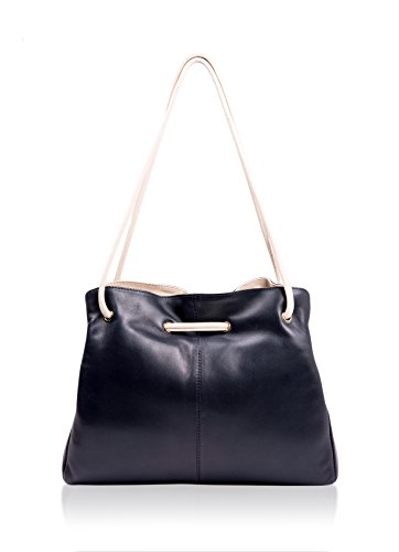 Gigi Navy Ladies Detail Navy Ring Leather Shoulder Ivory Bag Black d44vwYq