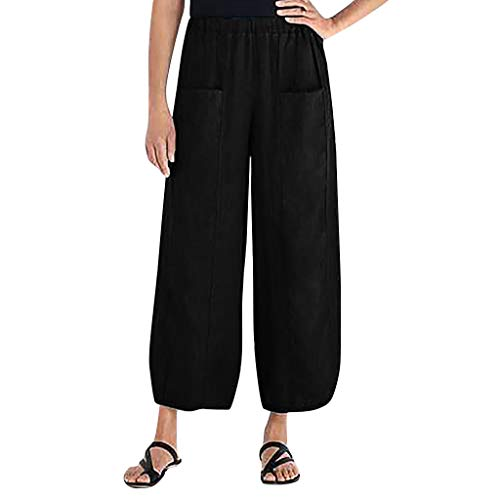 Respctful✿‿Women's Elastic Waist Causal Loose Trousers Cotton Linen Cropped Wide Leg Pants