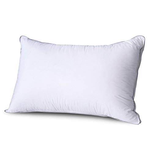 Duck Down Pillow - Comfort & Relax Memory Foam Pillow with Soft White Duck Down Cover, Height Adjustable, Queen, 1-Pack