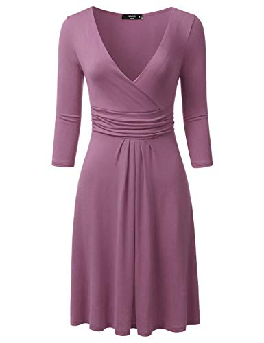 NINEXIS Women's 3/4 Sleeve V-Neck Crossover Banded-Waist Skater Dress, Mauve Small