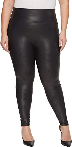 SPANX Women's Plus Size Faux Leather Leggings Black 1X 27