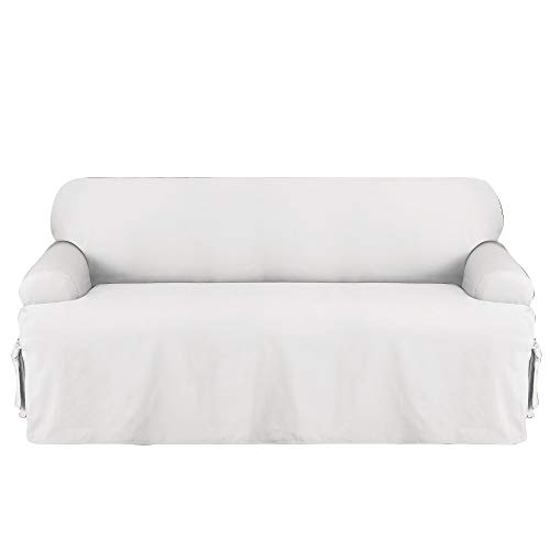 Sure Fit Cotton Duck T-Sofa Slipcover, White
