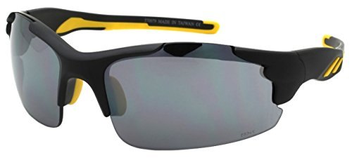 Edge I-Wear Semi-Rimless Sports Sunglasses with Flash Mirrored Lens (Fm Lens Accessories)