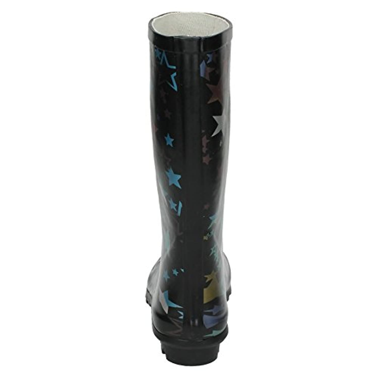 Girls Spot On Star Print Wellington Boot - Black Rubber - UK Size 3 Child - EU Size 36 - US Size 4