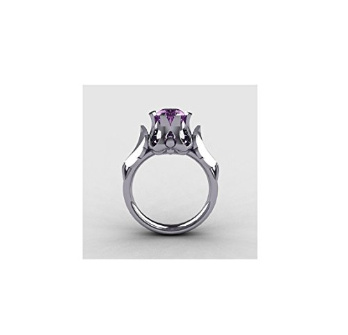 14k White Gold 0.30Ct D/VVS Amethyst Round Cut Diamond Engagement,Wedding, Anniversary,Love,Ring US Sizes 4-13 (Gold Amethyst Estate Ring)
