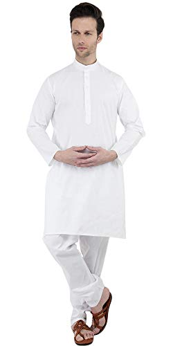 SKAVIJ Men's Tunic Cotton Kurta Pajama Set Indian Yoga Dress (XX-Large, White)