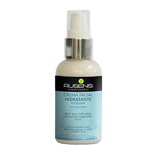 Rusens - Crema Facial Purificante (Antiacné) 100% Natural, Ideal para Piel Grasa con Tendencia a Acné, Consistencia Lig