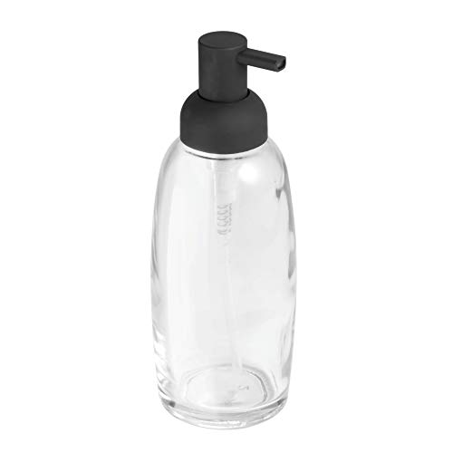 InterDesign Ariana Glass Soap & Lotion Dispenser Pump for Kitchen or Bathroom Countertops, Clear/Matte Black ()