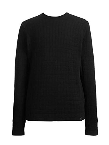 Jeans Dkny Men Sweaters - DKNY Jeans Quilted Crew Neck Sweater, S, Black