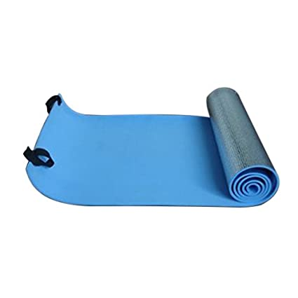 Yoga Mat - TOOGOO(R)Extra Thick Camping Picnic Pad Yoga Mat Sleeping Outdoor Mattress Fitness Mat (Blue, Silver)