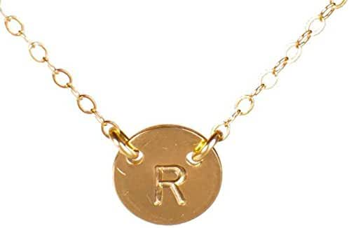 Initial Necklace, Tiny Gold Filled Simple Dainty 2 Hole Disc Stamped with a Letter, Small