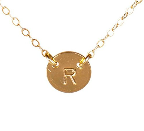 - EFYTAL Initial Necklace, Tiny Gold Filled Simple Dainty 2 Hole Disc Stamped with a Letter, Small