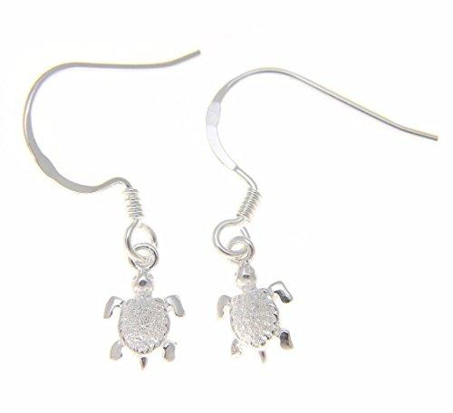 925 Sterling silver Hawaiian sea turtle hook earrings extra small ()