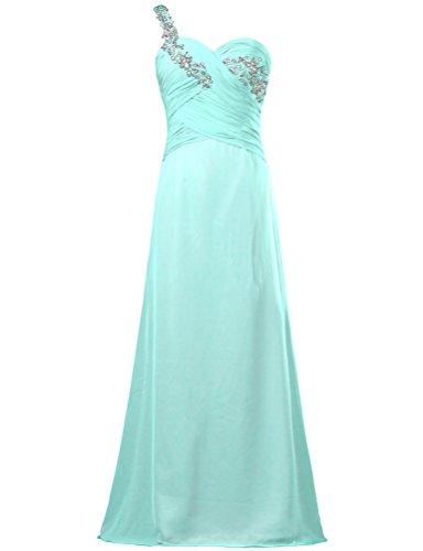 Lace One ANTS Cyan Dresses Weddings Chiffon Shoulder Bead for Women's Long BI7Pq76