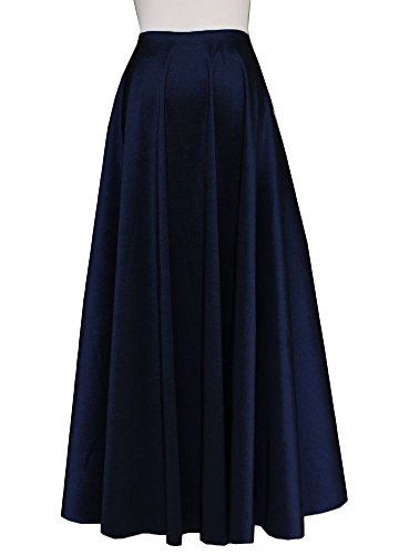 E K Women's plus size long taffeta skirt Maxi evening formal cocktail party-2X- navy