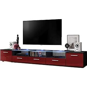ExtremeFurniture Long Meuble TV, Carcasse en Noir Mat/Façade en Bordeaux Brillant + LED Multicolores avec télécommande