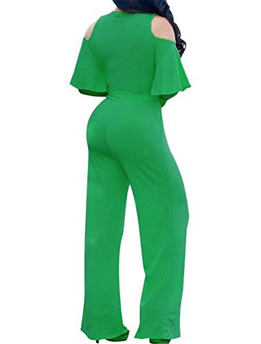 efd14943008b CutieLove Women s Sexy Wrap Deep V Neck Cold Shoulder Ruffle Sleeve Wide  Leg Jumpsuit With Belt
