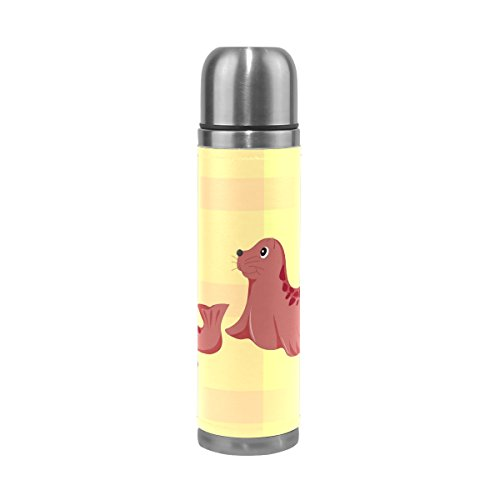 BAJUNTU Cute Seal Water Bottle Vacuum Cup Double Walled Stainless Steel Thermos Insulated Canteen Leak Proof for 500ML Coffee - Hearts Double Personalized Seal