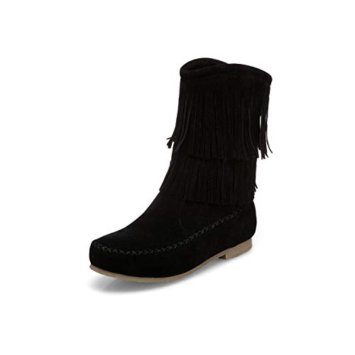 Boots Gaslinyuan Casual Women Size Shoes Color Tassel on Black 5 UK Flat Size Ankle Large 5 Slip 4qtzr4