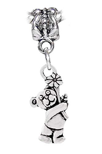 Bear Holding a Daisy Flower Animal Dangle Charm fits Silver European Bracelets Jewelry Making Supply by Wholesale Charms