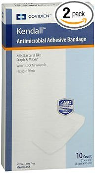 Bandages Antimicrobial Adhesive - Kendall Antimicrobial Adhesive Bandages - 10 Count, Pack of 2