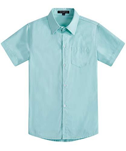 Spring&Gege Boys' Short Sleeve Solid Formal Cotton Twill Dress Shirts Aqua 11-12 Years