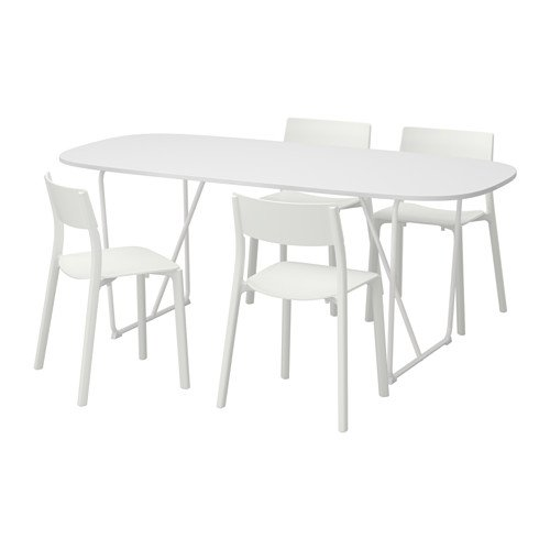Ikea Table and 4 chairs, white, white 8204.20517.1818