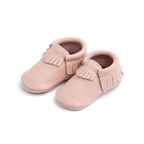 Freshly Picked - Soft Sole Leather Moccasins - Baby Girl Boy Shoes - Size 2 Blush Pink (Freshly Picked)