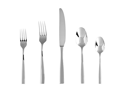 Fortessa Lucca 18/10 Stainless Steel Flatware, 20 Piece Place Setting, Service for 4 (Fortessa Lucca Faceted Flatware)