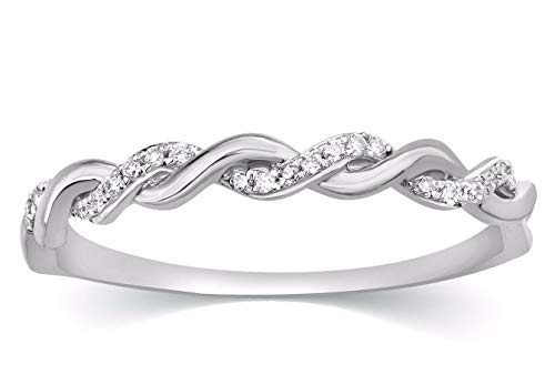 CARATS FOR YOU 10K White Gold 0.07ct Genuine Real Round Cut Natural Diamond Infinity Eternity Wedding Band Ring for Women from CARATS FOR YOU