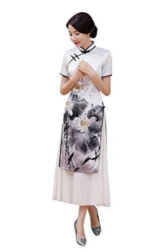 largo Satinado Vestido asi Cheongsam Acvip mujer Qipao Forro Fiesta ZxxdwvPq