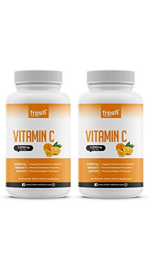 Vitamin C – (2 Pack) Powerful 1500mg Per Day Immune Support – Tasty Chewable Vitamin C Supplement All Year-Round Potent…
