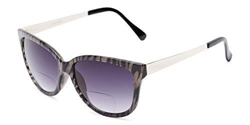Readers.com | The Penelope Bifocal Reading Sunglasses +2.75 Tan Zebra/Silver with Smoke Cat Eye Women's Full - Eye Cats Tan