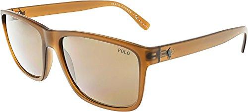 Polo Ralph Lauren Men's Injected Man Rectangular Sunglasses, Matte Brown, 57 - Ralph Polo Glasses