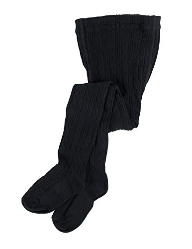 Leveret Girls Knit Cable Tights Black Size 6-8 ()