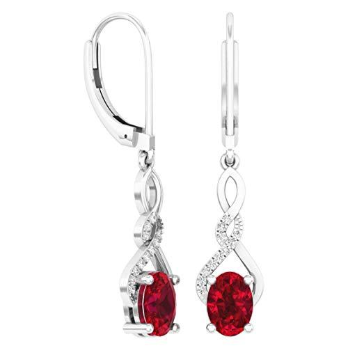 (Dazzlingrock Collection 7X5 MM Each Oval Garnet & Round Diamond Ladies Infinity Dangling Drop Earrings, Sterling Silver)