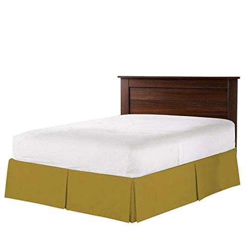 The Great American Store Luxury Double Brushed 100% Microfiber Pleated Bed Skirt with 13 Inch Drop (Queen Size, Solid Taupe) Wrinkle and Fade ()