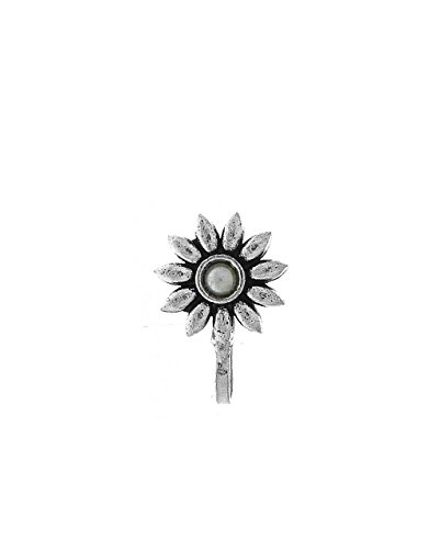 Anuradha Art Silver Oxide Finish Flower Styled Designer Clip-On Nose Ring/Pin For Women/Girls by Anuradha Art