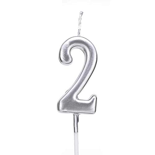 PartyMart Number 2 Metallic Candle, Silver Number 2 ()