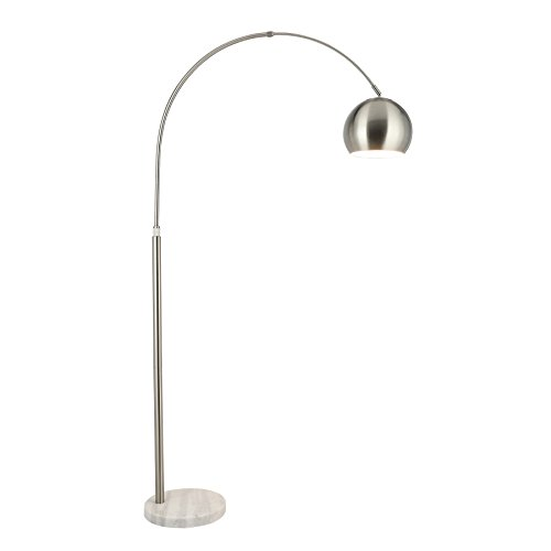 CO-Z Modern Arc Floor Lamp with 360° Rotatable Hanging Shade, Adjustable Nickel Standing Reading Light with Marble Base, Contemporary Arch Metal Pole Lamp with LED Bulb for Living Room Couch, - Arc Lamp Floor Big