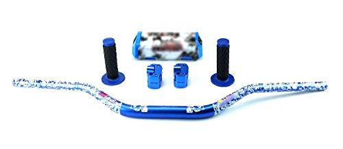 STONEMEN Motorcycle 28mm Fat Bars 1 1/8 Handlebars + Grips+ Bar Riser+bar Pad For Pit Dirt Bike Motocross Racing (Blue) by STONEMEN