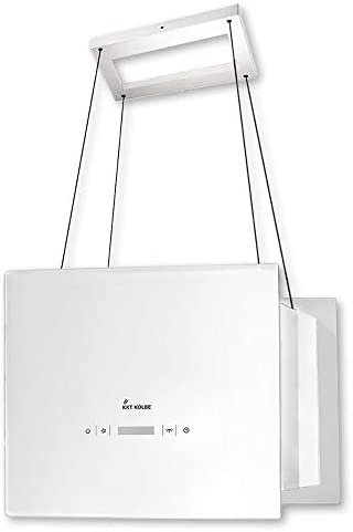 Campana extractora de diseño en isla (40 cm, acero inoxidable, cristal blanco, extra silenciosa, 4 escalones, iluminación LED, teclas de sensor, montaje con cable) BOX400W - KKT KOLBE: Amazon.es: Hogar
