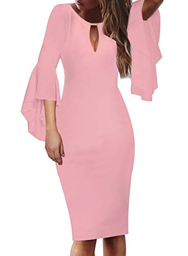 Bridal Dresses Modest (VFSHOW Womens Pink Keyhole Embellished Ruffle Bell Sleeves Cocktail Party Bodycon Sheath Dress 2827 PIK M)
