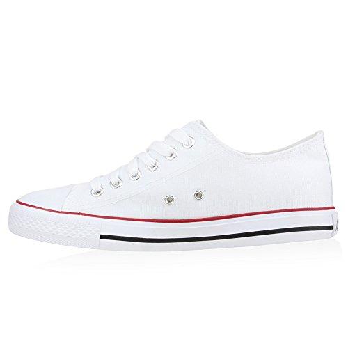 Sportliche Damen Low Sneakers Bequeme Freizeit Schuhe Flandell Weiss Rotstreifen