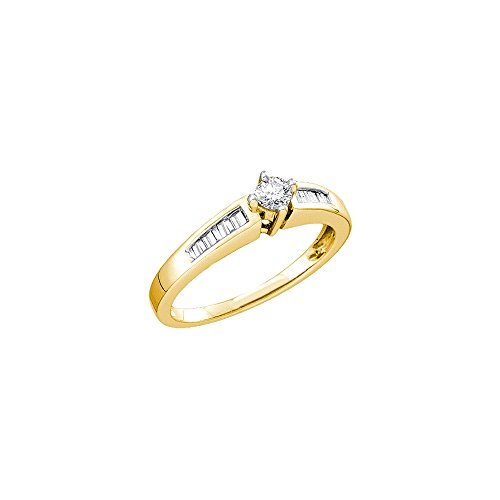 Size - 9.5 - 14k Yellow Gold Diamond Engagement Solitaire with Side Stones Channel Set Round and Baguette Cut Diamond Ring 5mm (1/4 cttw) - Channel Set Baguette Side Stones