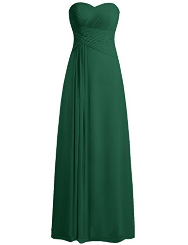 Cdress Women's Sweetheart Bridesmaid Dresses Long Chiffon Prom Evening Formal Gowns Dark_Green US 12 (Dress Formal Johnny)